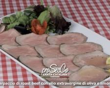 Carpaccio de roast beef con aceite de oliva virgen extra y limón