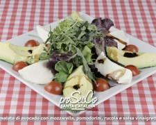Ensalada de aguacate con mozzarella, tomates cherry, rúcula y salsa de vinagreta