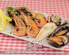 Parrillada mixta de calamares, gambas, mejillones y almejas