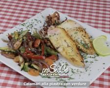 Calamar a la plancha con verduras