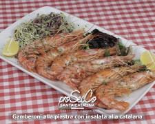 Langostinos a la plancha con ensalada catalana