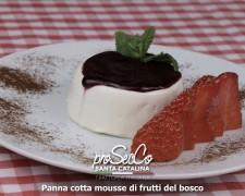 Panna cotta con salsa de frutas del bosque
